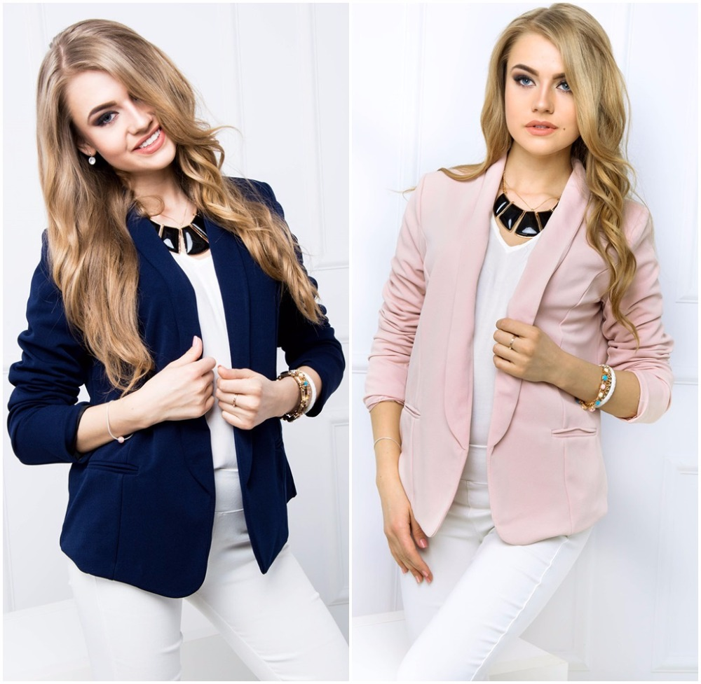 2016 NEW Womens Fashion Ladies Cropped ladies suit jacket with a collar 83872