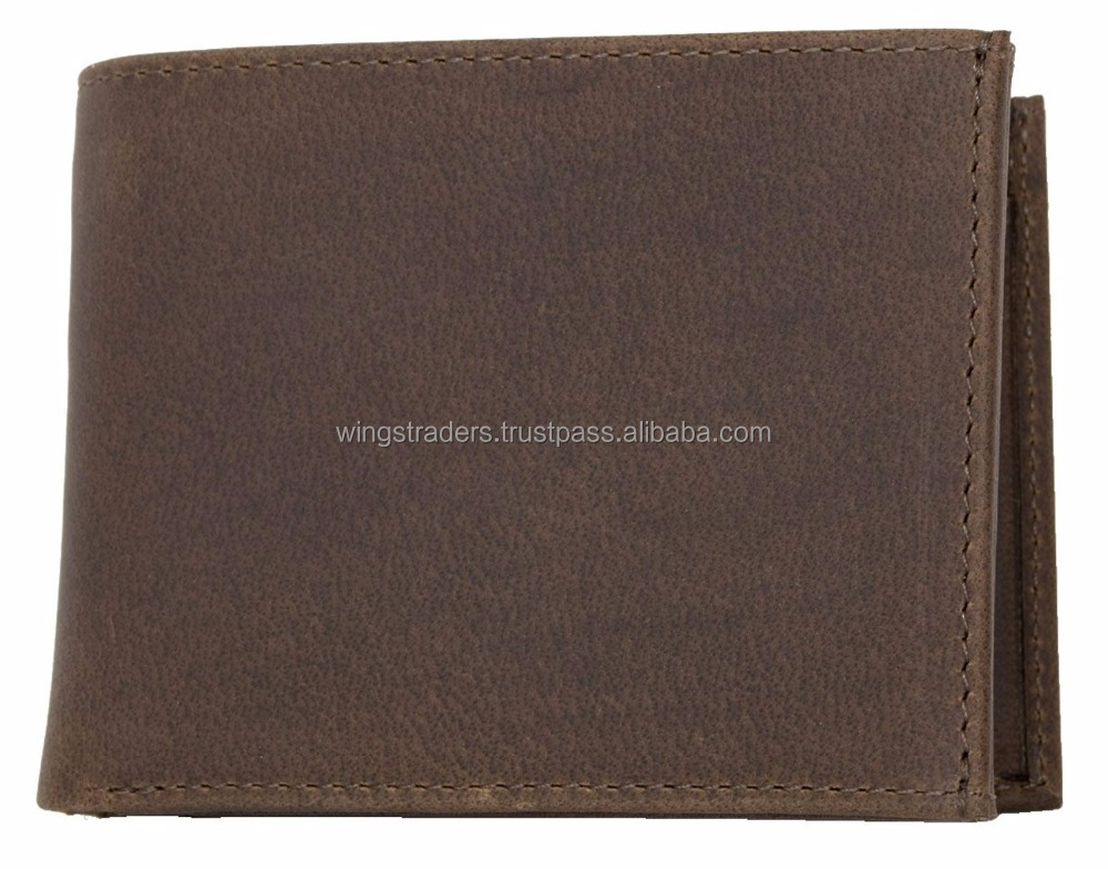 Men's brown natural strong genuine leather wallet by wings traders