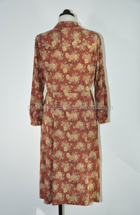 Very wholesale price Beautiful pritned dresss brown dress / 1970s flower print dress / vintage brown day dress