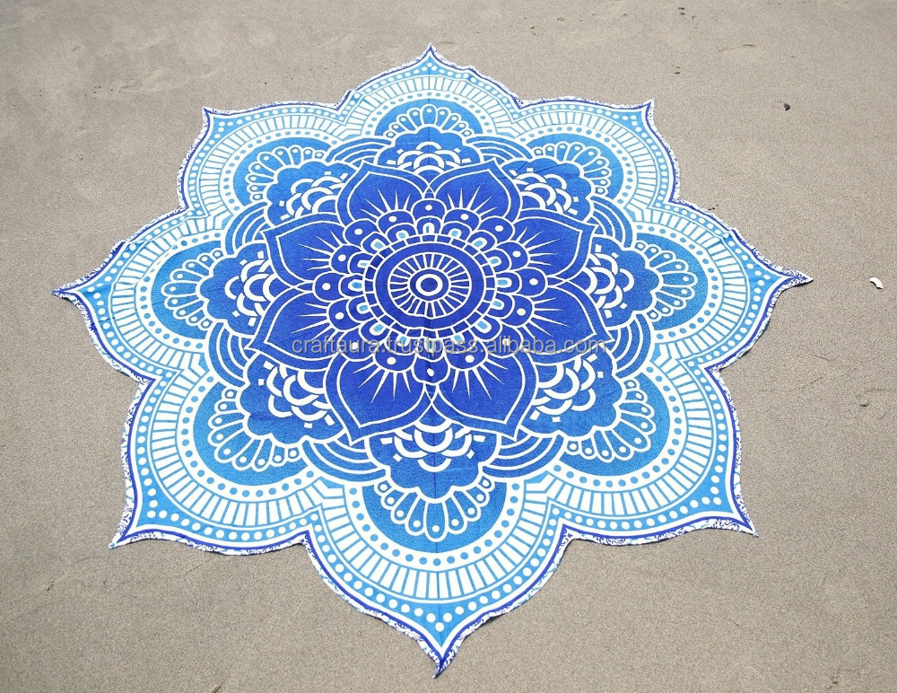 "Indian Blue Lotus Mandala Round Beach Throw Table Cloth Picnic Handmade Wall Hanging Round tapestry Cotton 72"" mandala roundie"