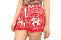 Red Thai Elephant Summer Cotton Beach Shorts Thailand