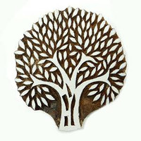 Woodblock Stamp Tree Handcarved Stamp Brown Indian Wooden Printing Block PB2490A