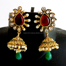 2015 Indian handmade meenakari dangle earring-Wholesale Gold Plated Jhumka Earring-south Indian Bridal Earring-Imitation Jhumkas