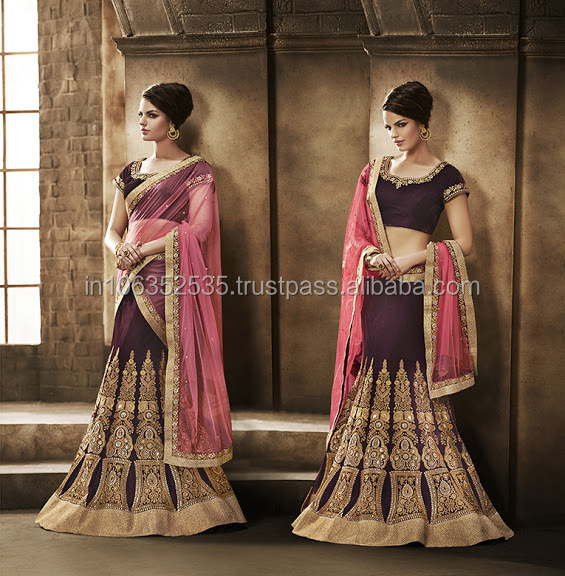 Exclusive Wedding Bridal Lehenga Style Saree | Saris Embroidered | Zari Heavy Work Indian Designer Sarees & Dress