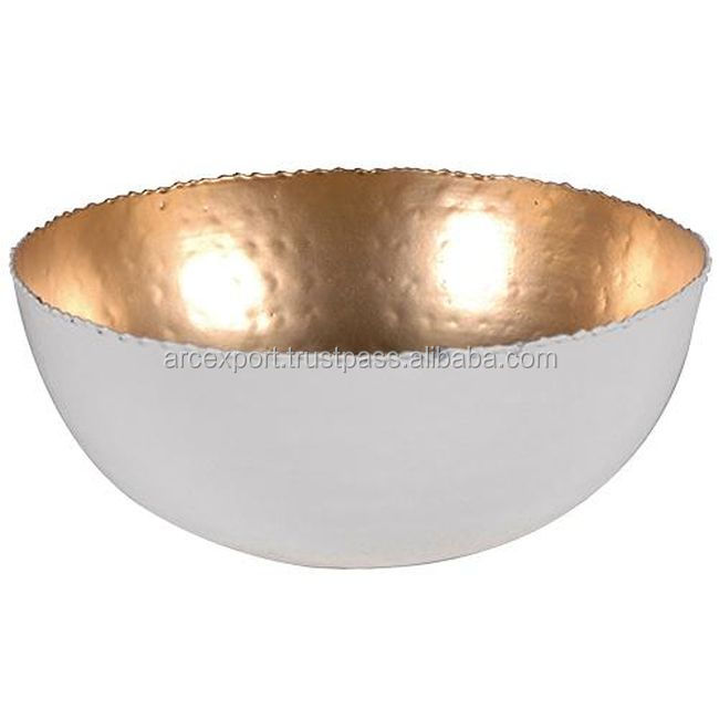 copper hammered white bowls