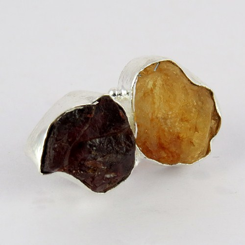 Summer Beayuty !! Yellow Citrine & Garnet 925 Sterling Silver Ring Size-5.0, 925 Silver Ring For Beautiful Fingers