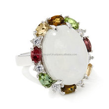 Multi Gem Ring,925 Sterling Silver Multi Color Stone Ring,Multi Band Ring