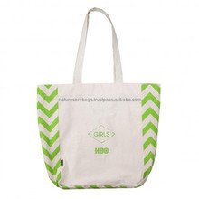 Promotional enviroment friendly natural handled organic canvas cotton shopping tote bag