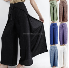 Womens Black Thai Silk Wrap Pants/Fisherman Sarong Harem Yoga Trousers Wide Leg