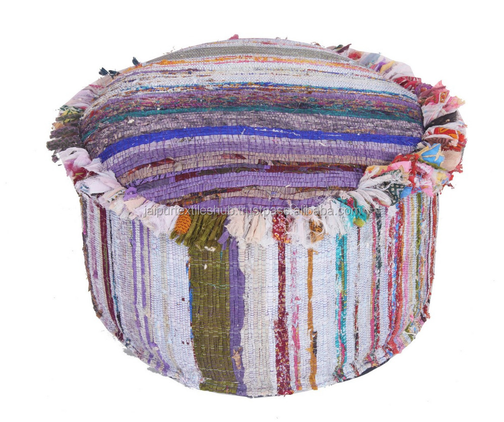 Dari Patchwork Bohemian Pouf Cover Ottoman Embroidered Round Pouffe Footstool