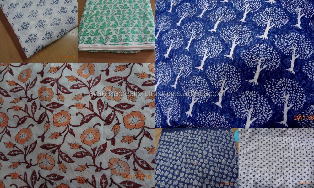 Hand block printed Designer Sanganeri natural cotton 100% cambric running fabric wholesaler and Indian manufacturer
