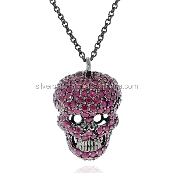 925 Sterling Silver Pave Ruby Skull Pendant Chain Necklace Silver Gemstone Jewelry Wholesale Supplier