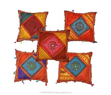 applique work cushion cover embroidery & mirror work sofa cushion cover made in india