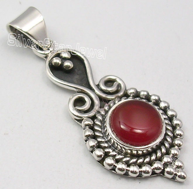 925 SOLID Silver Low Price RED CARNELIAN TIBETAN Pendant 3.8 CM JEWELRY STORE