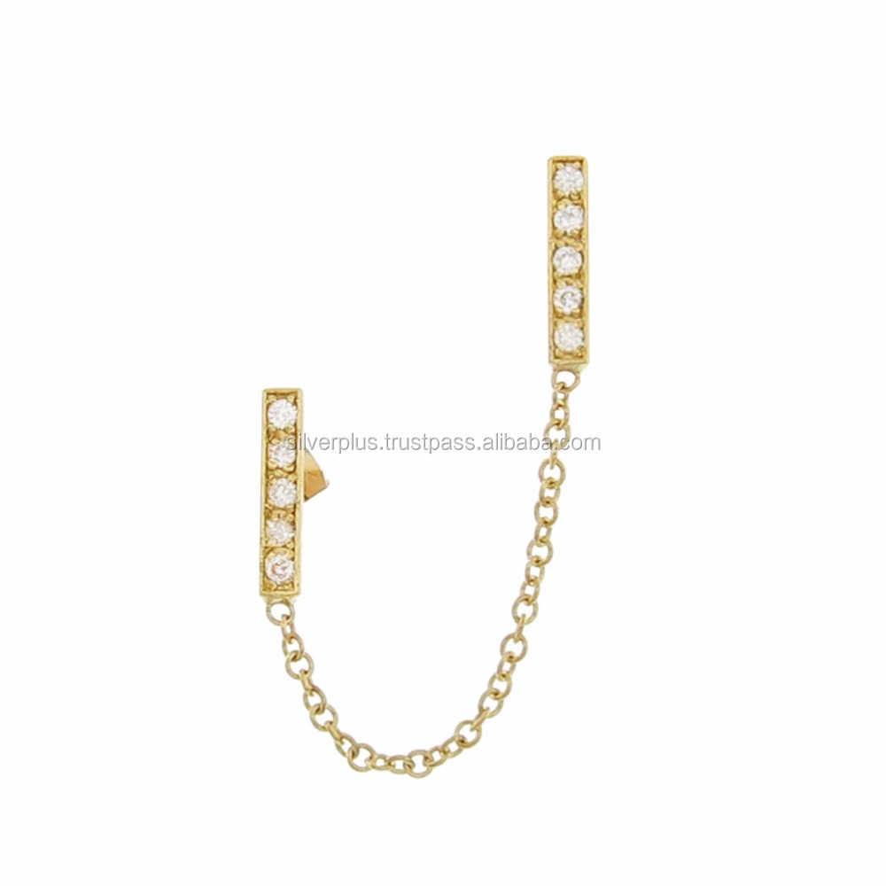 14k Gold Diamond Cartilage Chain Earring Double Piercing
