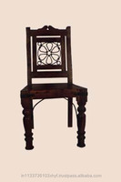 solid wooden dining chair with iron grill back