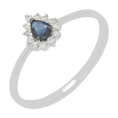 Factory direct sale white gold ring blue stone ring from Thailand at low price