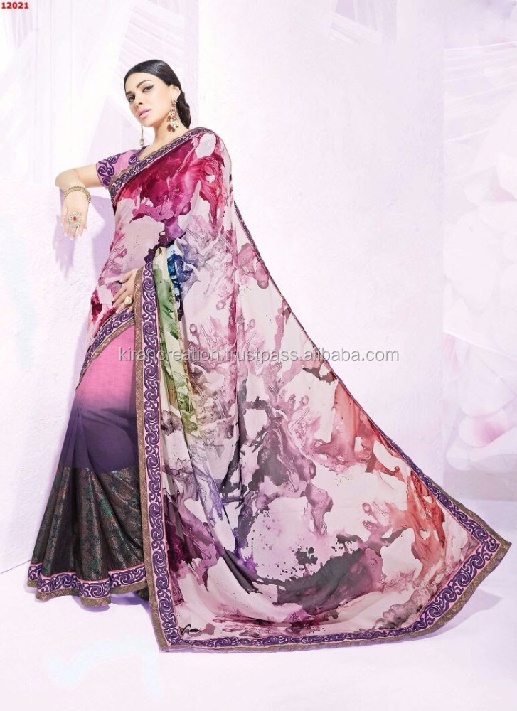 Nayonika Georgette and Chiffon Pink Color Thread Embroidery Designer Saree