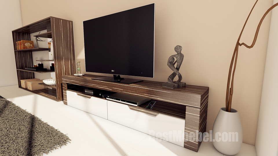 Premium TV Stand Zebrano Black Veneered, High Gloss, Painted, Frusitti, Made in EU