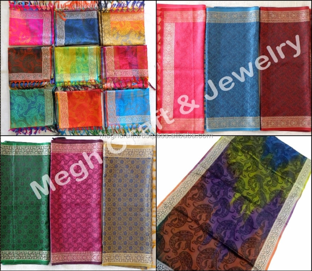 Indian Silk Printed Pashmina stoles and shawls/ scarf-wholesaler Indian Ladies Winter Wear Pashmina Stoles-Shawls-Dupatta