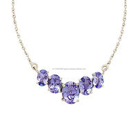 925 Sterling fashion women silver necklace, natural tanzanite gemstone silver necklace, women necklace