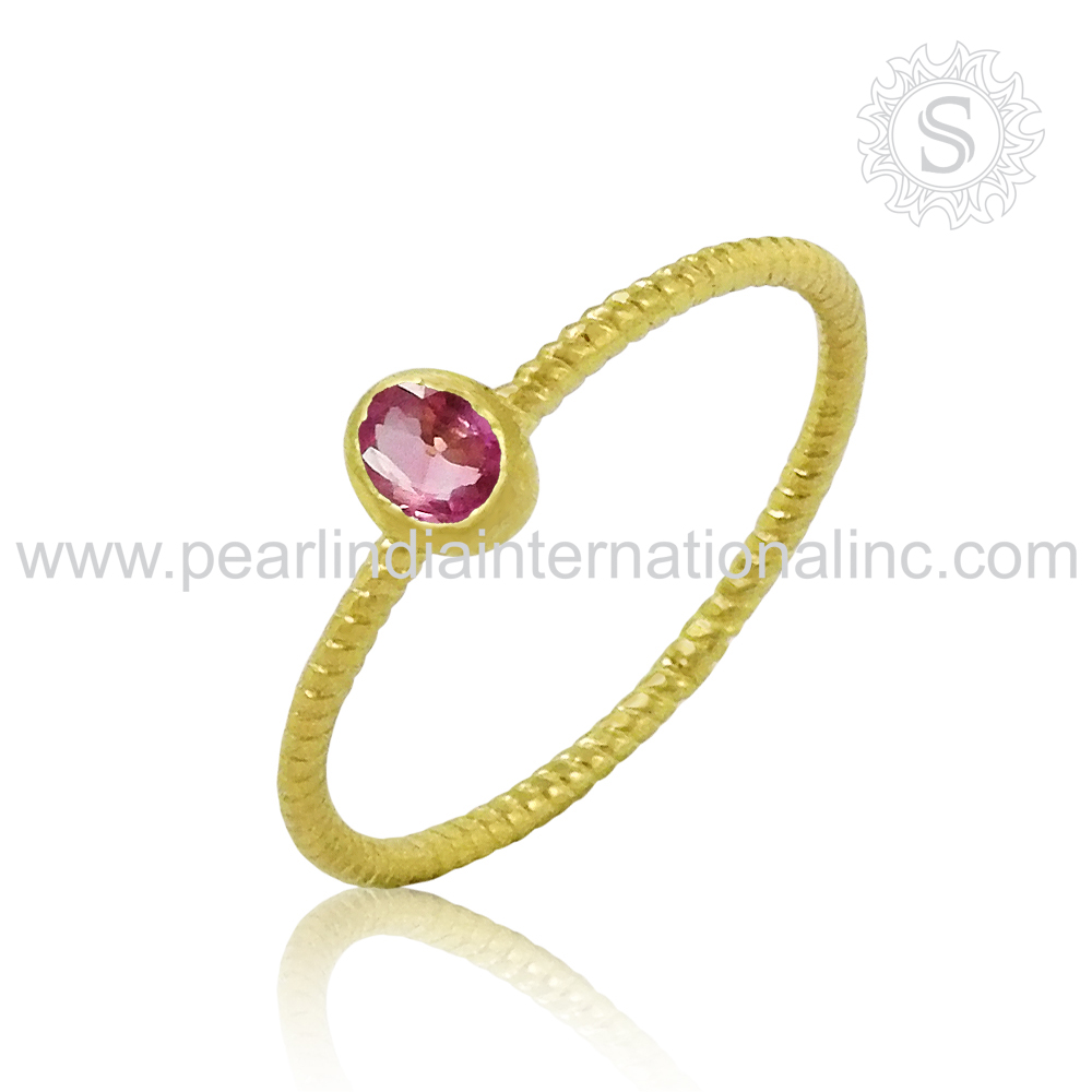 Glittering Pink CZ Gold Plated Ring Wholesale 925 Sterling Silver Jewelry Indian Silver Jewelry Exporters