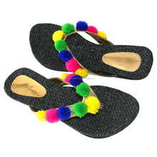 wholesaler and manufacturer black colour and desining flower flat slipper and party wear footwear