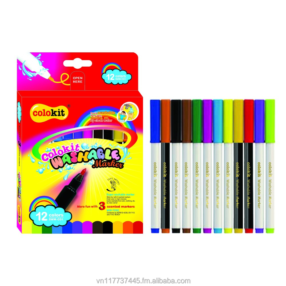 Markers Fresh Color Washable Markers (12 Brilliant Colors with 3 Scented Markers): Colokit SWM-C01