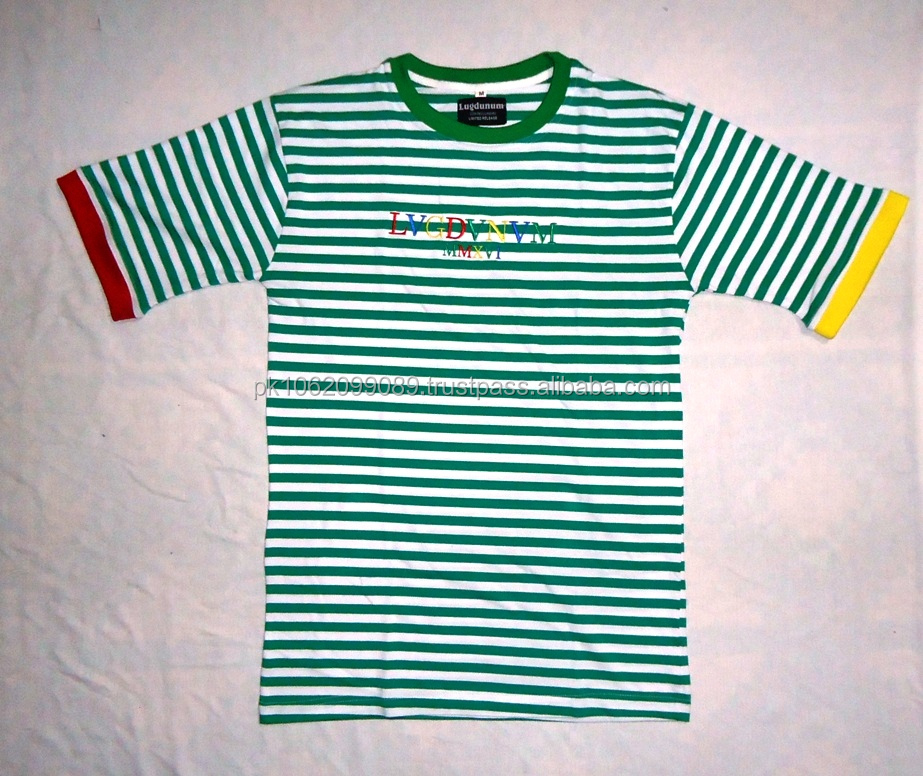 2017 latest article stripe fabric embroider t shirt