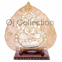6 inch gold plated ganesha metal leaf