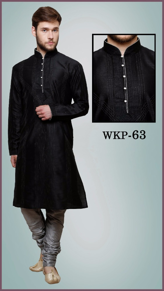Black Kurta designs for men