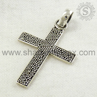 Wholesale 925 Sterling Silver Jewelry Pave Design Cross Pendant Fashion Indian Silver Jewelry Online