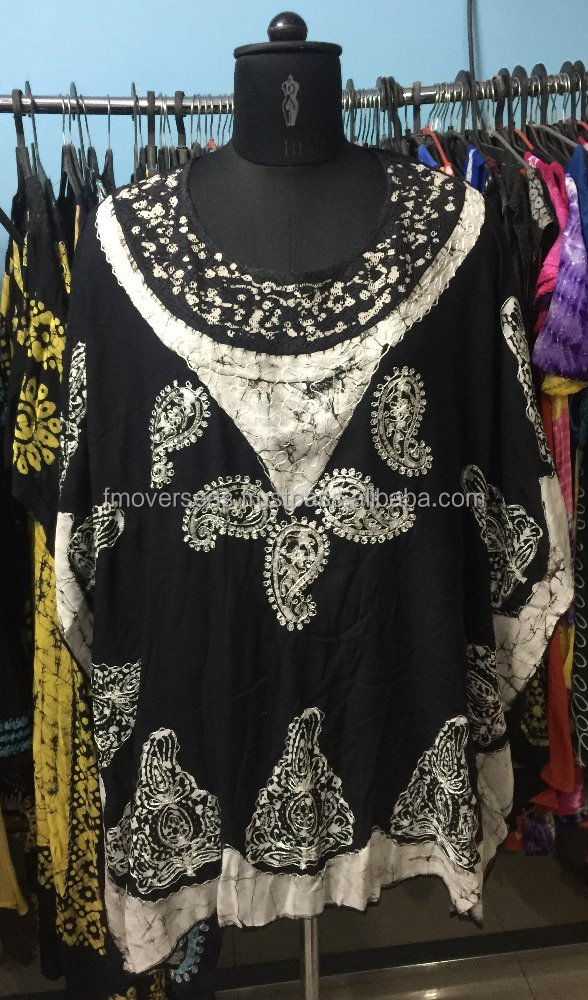 PRINTED KAFTAN FOR WOMEN ROUND NECK LINE WITH LACE WORK