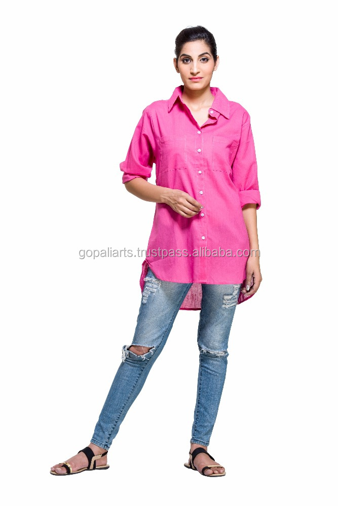 Indian Latest Fashion Women Lady Casual Cotton Long Sleeve Loose Shirt Blouse Tops Indian Top