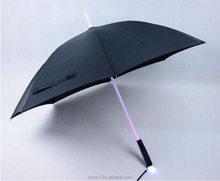 2016 new fashion novel innovation design 23 inches Acrylic shaft light solar LED umbrella