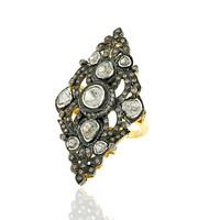 Designer Pave Diamond Rose Cut Ring, 14K Gold Natural Pave Diamond Ring Jewelry, Designer Ring Jewelry for Women