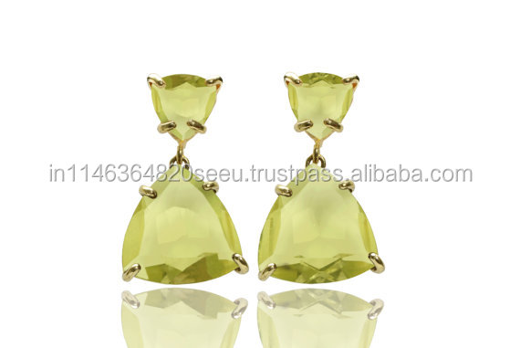 Superb Design Stylish Modecular Bar Setting trinity Shape Green Amethyst Bearback Earring