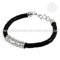 Charming Design Plain Silver Bracelet With Lather 925 Sterling Silver Jewelry Wholesale Silver Jewelry Supplier