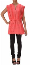 Skirts & Scarves Cotton Embroidered Chikankari Kurti/Top for Women (Peach)
