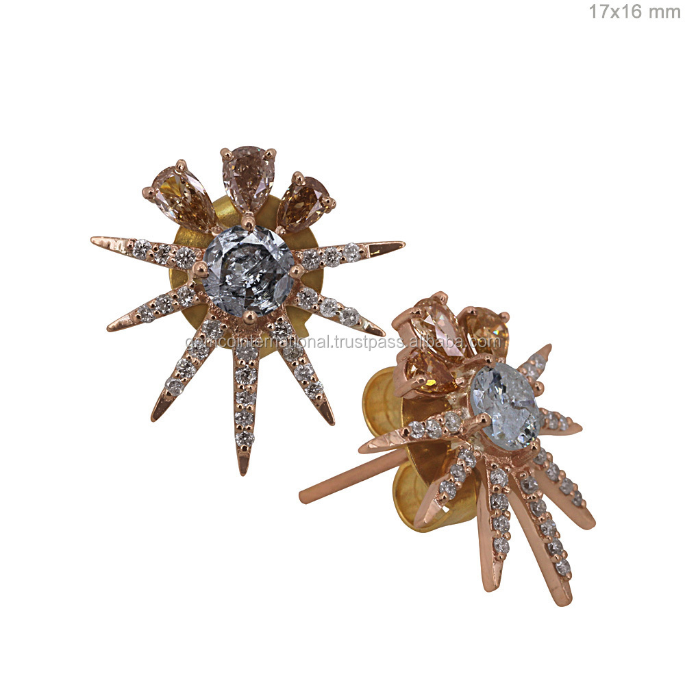 Natural Diamond Jewelry 750 18kt Rose Gold Designer Stud Earrings