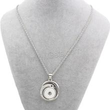 Zinc Alloy Button with iron chain Swan platinum color plated rope chain zinc alloy necklace