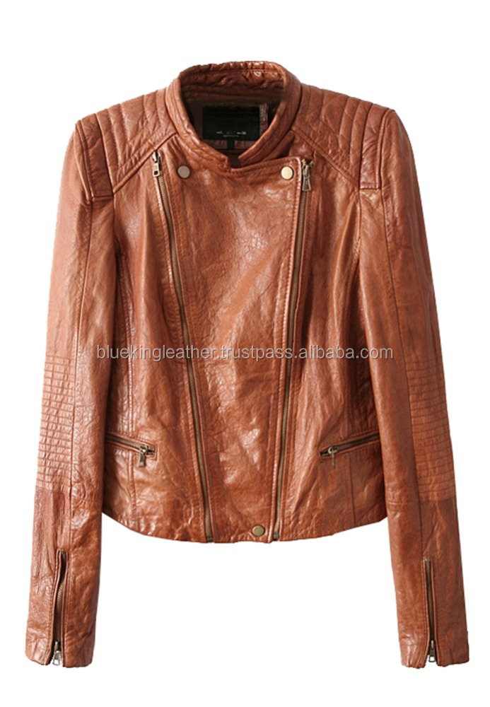 BLUE KING Woman BNWT Camel Brown Lambskin Leather Biker Jacket