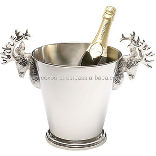 silver plated deer shape handles wine buckets for party