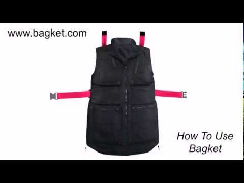 Converting a Multi Pocket Vest, BAGKET, from jacket into a carry on luggage to avoid baggage charges