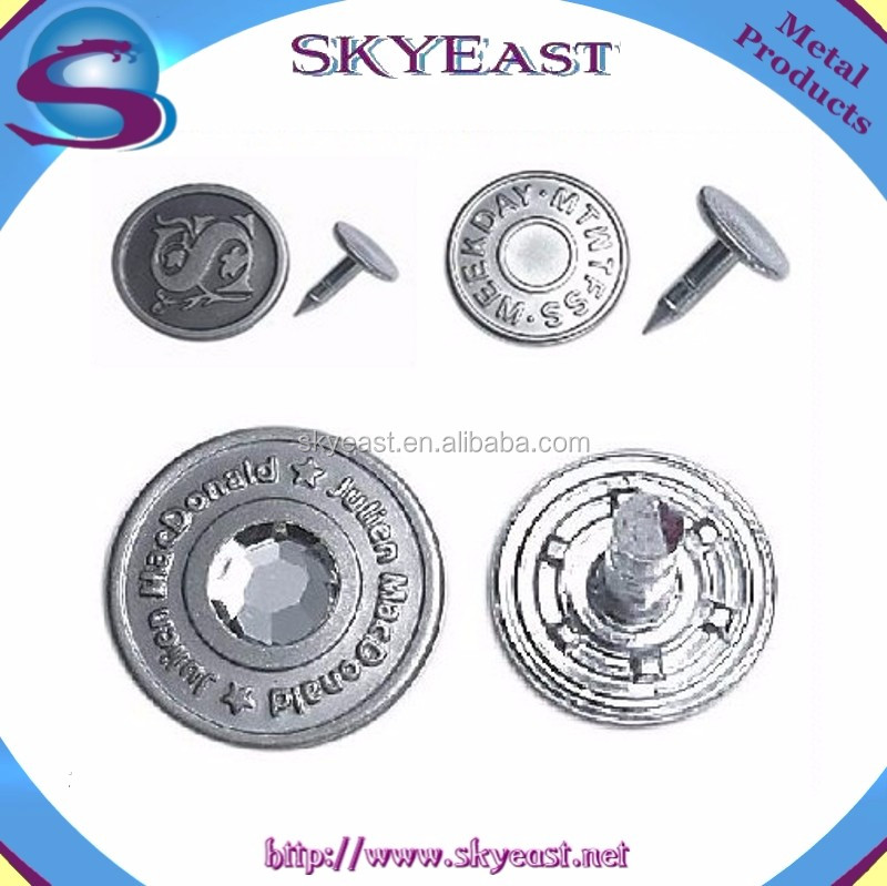 High Class Crystal Rhinestone Plastic Insert Metal Jean Buttons