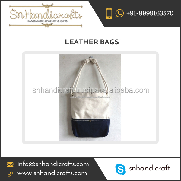 Trendy Beach Navy Blue Leather Handbag