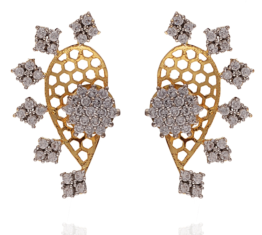 Zephyrr Fashion Handmade Pierced Earrings Ear Cuffs with American Diamonds