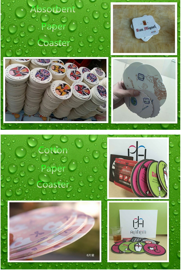 2mm absorbed paper coaster beer paper coaster cardboard coaster for bar with logo printing IC-089
