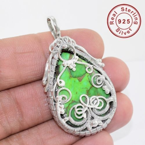 Indian jewelry manufacture gemstone silver jewelry green copper turquoise pendant 925 sterling silver pendant jewelry