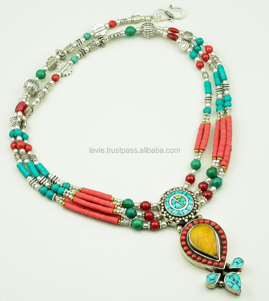 Natural Turquoise Coral Gemstone Necklace, Tibetan Silver Nepali Antique Necklace, Beautiful Jewelry